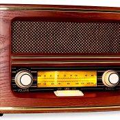 AUNA Belle Epoque 1905 - Radio nostálgica, Radio FM, Banda de Frecuencias, Regulador de Volumen y Frecuencias, Cable de Antena, Carcasa de Madera, Revestimiento para Altavoces, Dorado, Rojo