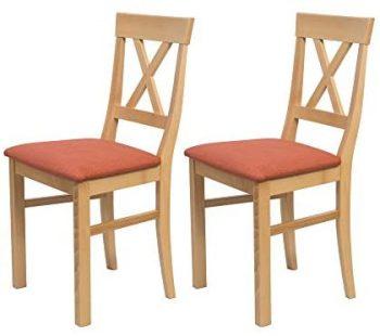 Alkove - Hayes - Set de 2 sillas de madera maciza con asiento tapizado (haya lacada)