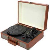 Altavoces para tocadiscos, estuche de madera con Bluetooth 5.0, tocadiscos de vinilo con altavoces estéreo integrados, tocadiscos portátil 33/45/78, tocadiscos para audio doméstico(Enchufe de la UE)