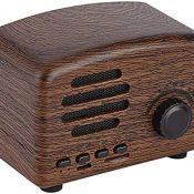 Altavoz inalámbrico Retro portátil con Radio FM Altavoz estéreo bajo HiFi Micrófono Incorporado Compatible con Tarjeta USB TF y batería Recargable de 1800mAh(Madera)