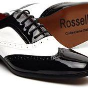 Años 1940 Negro de Hombre Italiano Estilo Vintage De Fiesta Punta Afilada Oxford Broque Zapatos Negro Borsalino