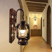 Artpad Lámpara de queroseno rústico Artpad montado en la pared, gancho E27 lámpara de pared colgante con base de madera, barra interior, restaurante de café, decoración de pasillo, apliques
