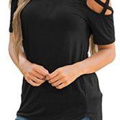 Auifor Camiseta de Verano de Manga Corta con Tiras, con Hombros Descubiertos, Blusas