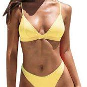 Bikini Mujer Push Up Conjuntos de Bikinis Color sólido con Relleno Tops y Braguitas Mujeres 2019 brasileños vikinis Sujetador Acolchado Ropa de Dos Piezas Playa Beachwear riou