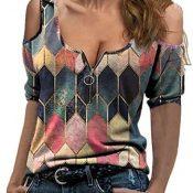 Blusa Mujer Escote V Estampada Larga Talla Grande Elegante,Blusas Juveniles De Moda Informales Mujer,Camisetas Mujer Sexy Verano
