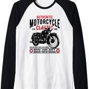 Camisetas Moteras Rockabilly Hombre Mujer Vintage 70s Motos Camiseta Manga Raglan
