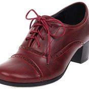 FitWee Vintage Primavera Zapatos Low Top Block Tacón Medio Mujer Brogues