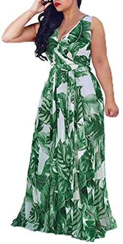 Fossen Vestidos Mujer Verano 2020 Largos Casual Estampado Tallas Grandes Sin Mangas - Chic Vestido de Fiesta Elegantes de Playa Vacation - Vintage Clásico Dress para Coctel Noche