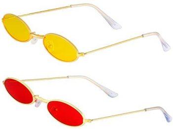 Haichen Vintage Gafas de sol ovales pequeñas para mujeres Hombres Gafas retro Hippie Marco de metal Colores de caramelo