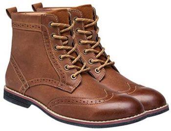 Happyyami Botines Chelsea para Hombre Botines Chukka de Cuero Zapatos Retro Vintage
