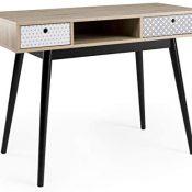 Homely - Mesa de Escritorio de diseño Vintage Carla sobre de MDF Color Roble y Patas de Madera en Negro 110x48 cm