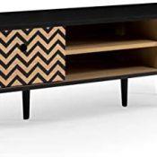 Homely - Mueble de TV de diseño Vintage Onion MDF y Madera en Roble y Negro 120x39,5 cm