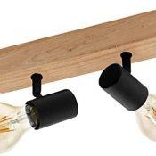 Lámpara de techo EGLO TOWNSHEND 3, lámpara retro con 2 focos de techo vintage de estilo industrial de acero y madera, color: negro, marrón, casquillo: E27