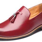 Mocasines de Hombre con borlas Vintage, Elegantes Zapatos de Cuero con Punta Puntiaguda, Zapatos Formales de Color sólido Antideslizantes Planos