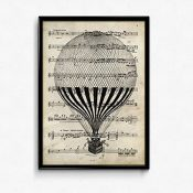 Nacnic Lámina Poster Globo Vintage de partituras. Ilustracion sobre Antiguas partituras Amantes de la música. Tamaño A4