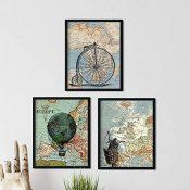 Nacnic Pack de láminas para enmarcar Viajando por EL Mundo. Posters con imágenes de mapas. Tamaño 24x30cm