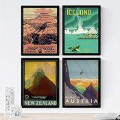 Nacnic Posters Vintage. Posters Publicidad del Mundo. Cuatro láminas Vintage de montañas y Rios. Tamaño A3