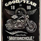 Nostalgic-Art 26224 Goodyear - Motocicleta - Idea de Regalo para Fans de Coches y Motos Retro Cartel de Chapa de Metal, decoración Vintage, 15 x 20 cm