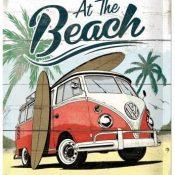 Nostalgic-Art Cartel de Chapa Retro VW – Bulli T1 – Beach – Idea de Regalo de Furgoneta Volkswagen, metálico, Diseño Vintage Decorativo, 20 x 30 cm