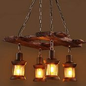 RUNNUP Vintage Wood Chandelier 4 Licher LED E27 Lámpara de techo Lámpara colgante para sala de estar, bar, comedor Lámpara de techo Pantalla de vidrio con aluminio (sin bombillas)