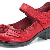 Socofy Mocasines Rojos Flores Velcro Zapatos de Mujer de Cuero de Ballet Vintage Zapatos Casuales Mujer Primavera Verano Cómodos Zapatos De Baño con Puntera Redonda