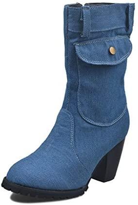 UMore Botas Mujer Botines de Vaquero Otoño Invierno Vintage Botines Mujer con Cordones Zapatos de Mujer Botas Cómodas de tacón Plano Cremallera Bota Corta Casual