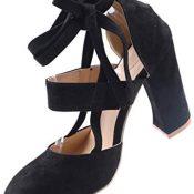 UMore Zapatos de Tacón Alto Mujer Correa Vintage Chunkyrayan Zapatos con Tira de Tobillo Mujer Zapatos de Tacón Brillante Boda Fiesta