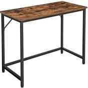 VASAGLE Escritorio, Mesa de Ordenador, Mesa de Oficina pequeña, 100 x 50 x 75 cm, para Estudio, Oficina, Montaje Simple, Acero, Diseño Industrial, Marrón Rústico y Negro LWD41X
