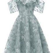 Vestido de encaje para mujer, estilo vintage, princesa, floral, cóctel, fiesta, columpio, vestidos de noche