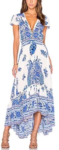 Vestidos Mujer Verano Largos Vintage Bohemio Estilo Etnica Flores Impresa Casual Elegantes Manga Corta V Cuello Alto Cintura A-Line Vestidos Playa Vestidos Verano Vestido Largo