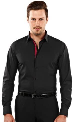 Vincenzo Boretti Camisa de Hombre, Ajustada Entallada (Slim-fit), 100% algodón, Manga-Larga, Cuello Kent, con entredós Interior en Color contrastante - no Necesita Plancha