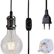 Vintage Lámpara de Techo Luz Colgante, Portalamparas E27 con Enchufe y interruptor, 3M Adaptador de lámpara con enchufe (Negro)