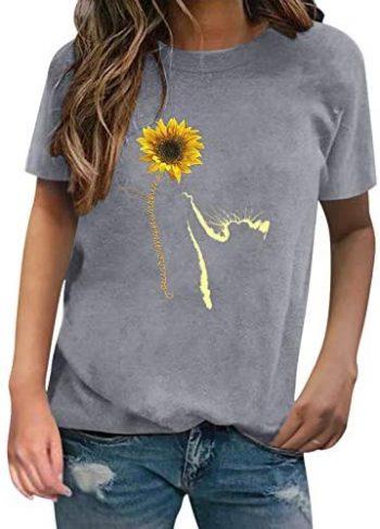 YANFANG Camiseta con Estampado de Gato de Nuevo diseño de Moda para Mujer Camiseta de Manga Corta con Cuello Redondo,túnica para Mujer, Ajuste Delgado, Informal, con puños elásticos