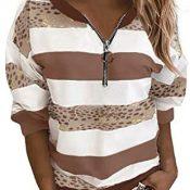 YANFANG Sudadera con Capucha de Manga Larga con Cremallera de Costura de Leopardo a Rayas para Mujer,Camisas Blusas Moda Casual Primavera Otoño Sueltas Shirts Fiesta