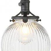 Yosoan - Lámpara de techo de cristal transparente para cocina, comedor, dormitorio, cafetería, bar, club, color negro