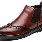 Zapatos Brogue para Hombre, Botas Vintage de Corte Alto, Botas Chelsea de Cuero de Otoño Invierno, Botas Cortas de Oficina sin Cordones de Estilo británico