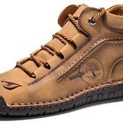 Zapatos Casuales para Hombres, Zapatos de Cuero de caña Baja con Cordones Hechos a Mano Vintage, Botines de Moda Transpirables Antideslizantes Planos