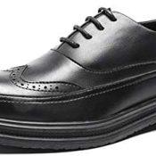 Zapatos Oxford para Hombre Color sólido Brogue Corte bajo con Cordones Zapatos de Cuero Vintage Antideslizante Fondo Grueso Suave Zapatos Formales de Negocios Elegantes