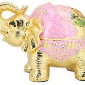 Zerodis Cenicero Elefante, Aleación de Zinc Innovador Esférico Decorativo Vintage a Prueba de Viento Cenicero Elefante con Cubierta Multifuncional Oficina Hogar Adorno de Regalo (Rosa Dorado)