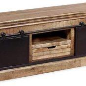 Zerone Mueble Bajo para TV, Armario de TV de Madera Maciza de Mango Estilo Vintage para Salón Dormitorio, 110 x 30 x 45 cm