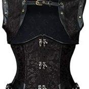 lenceria de cuero sexy mujerCorsé de corte punk de acero estilo vintage con tiras de chal Chaleco de cintura gótico-A_XL