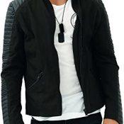 trueprodigy Casual Hombre Marca Chaqueta Moto Basico Ropa Retro Vintage Rock Vestir Moda Deportivo Slim Fit Designer Fashion Jacket con Detalles de Cuero